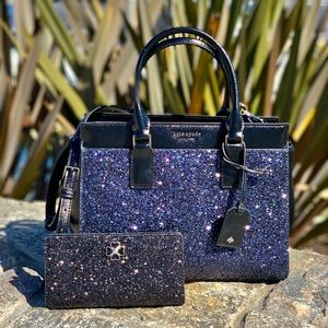 Kate Spade Cameron MD Glitter Satchel / Wallet Set